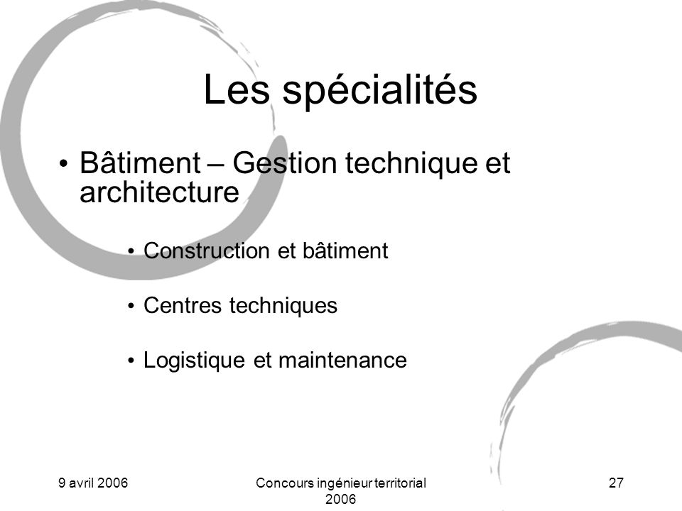 Concours ingénieur territorial 2006