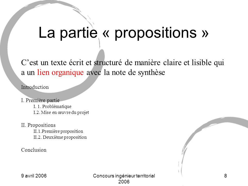 La partie « propositions »