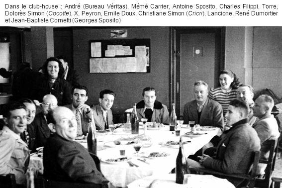 Dans le club-house : André (Bureau Véritas), Mémé Carrier, Antoine Sposito, Charles Filippi, Torre, Dolorès Simon (Cocotte), X, Peyron, Emile Doux, Christiane Simon (Cricri), Lancione, René Dumortier et Jean-Baptiste Cometti (Georges Sposito)