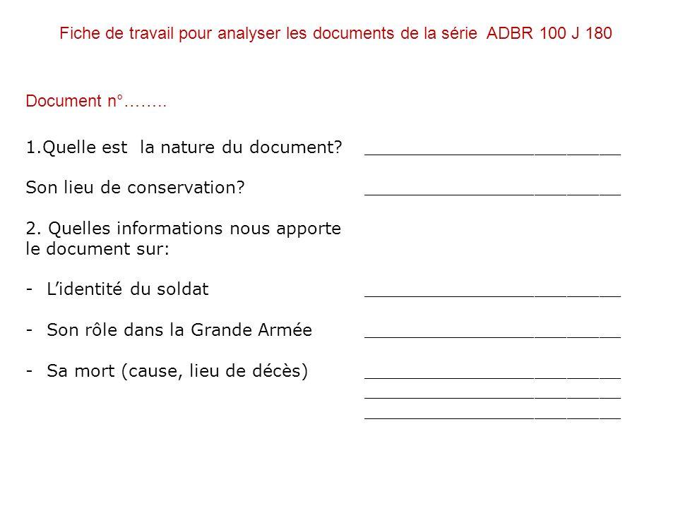 Fiche de travail pour analyser les documents de la série ADBR 100 J 180
