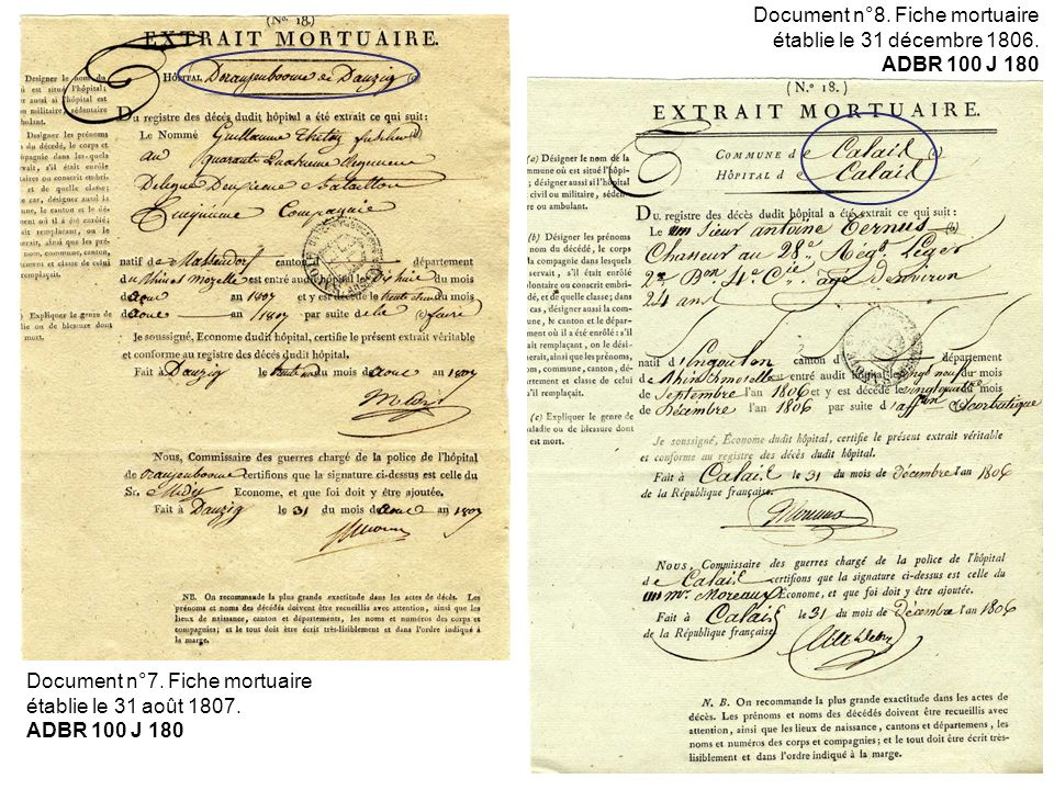 Document n°8. Fiche mortuaire établie le 31 décembre 1806.