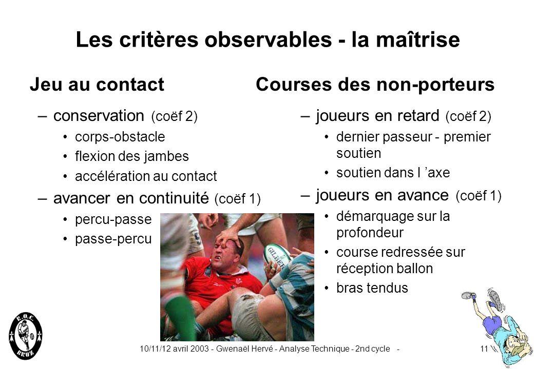 Les critères observables - la maîtrise