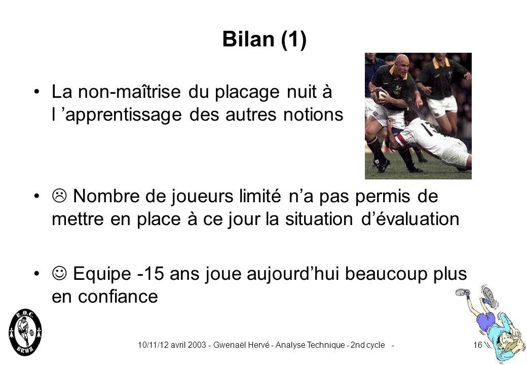 Bilan (1) La non-maîtrise du placage nuit à l 'apprentissage des autres notions.