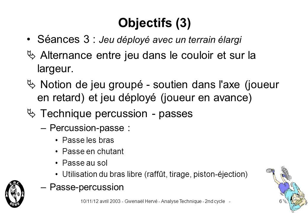 Objectifs (3) Séances 3 : Jeu déployé avec un terrain élargi