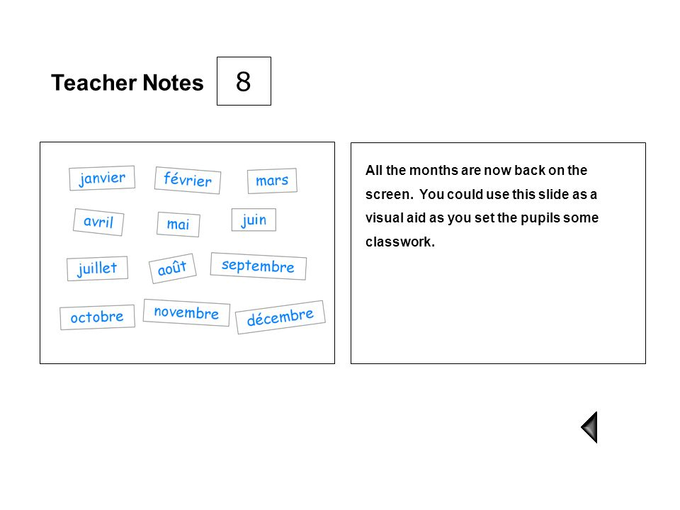 8 Teacher Notes. All the months are now back on the screen.