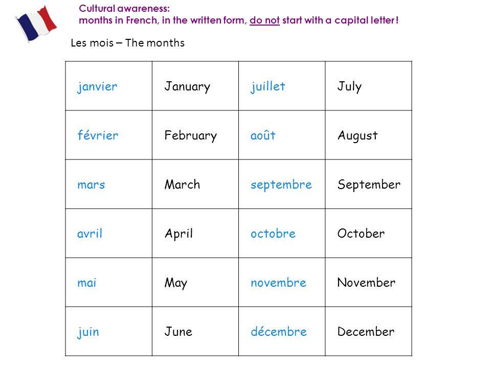 Les mois – The months janvier January juillet July février February