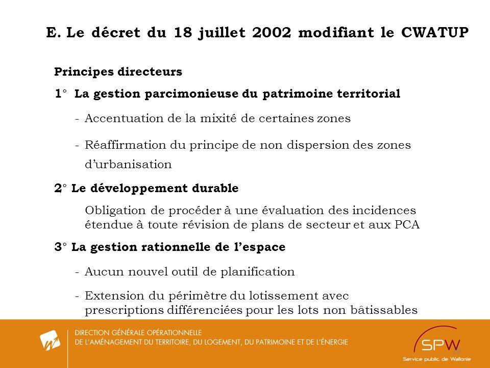 E. Le décret du 18 juillet 2002 modifiant le CWATUP