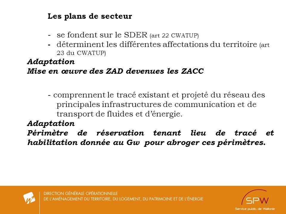 - se fondent sur le SDER (art 22 CWATUP)