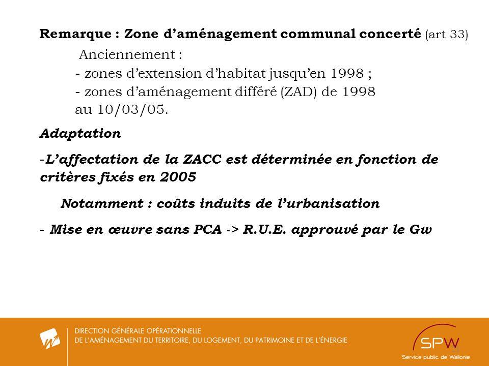 Remarque : Zone d'aménagement communal concerté (art 33)