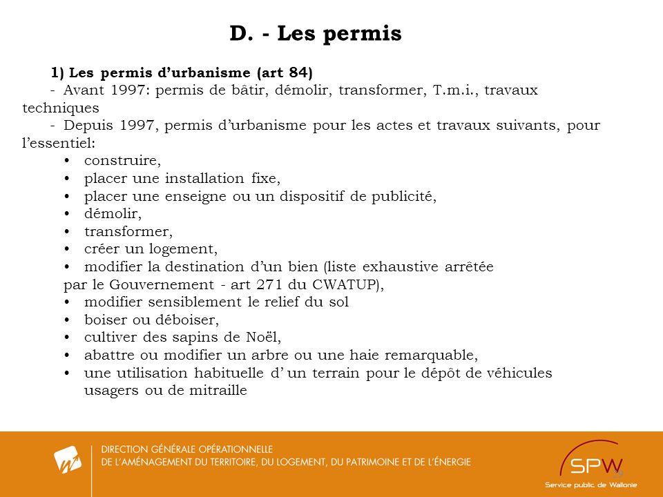 D. - Les permis 1) Les permis d'urbanisme (art 84)