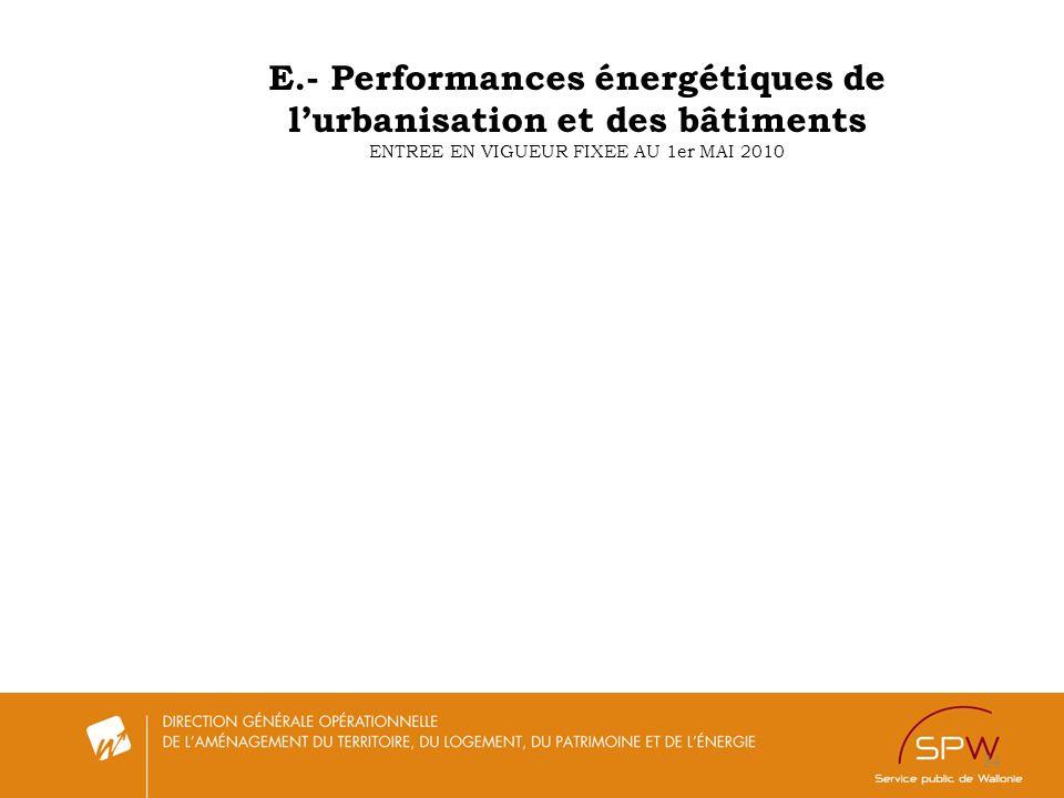 E.- Performances énergétiques de l'urbanisation et des bâtiments