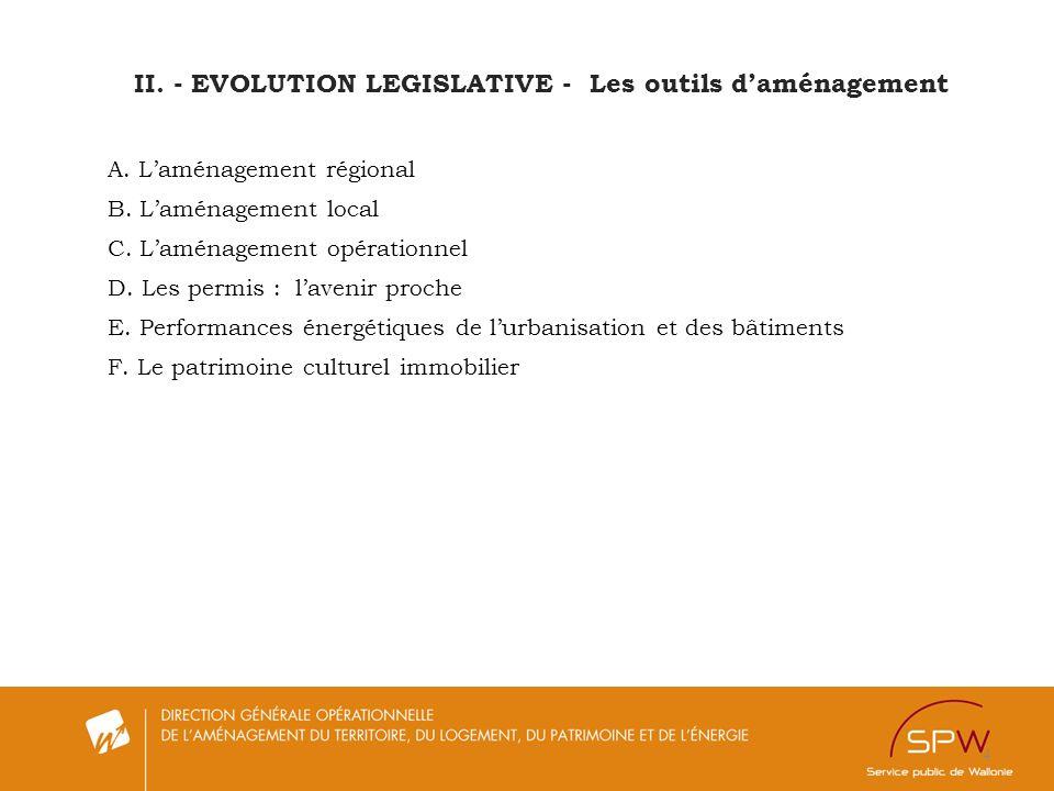 II. - EVOLUTION LEGISLATIVE - Les outils d'aménagement