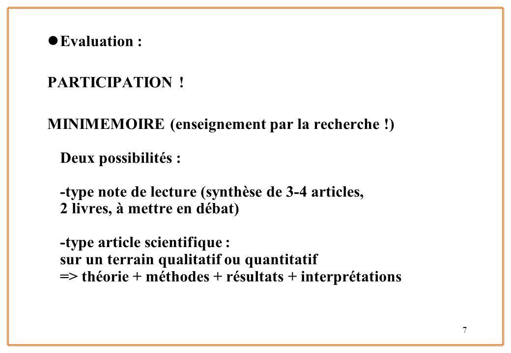 Evaluation : PARTICIPATION !