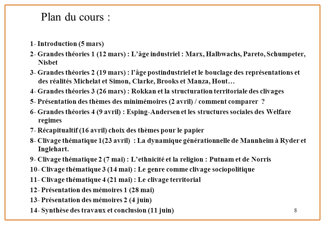 Plan du cours : 1- Introduction (5 mars)