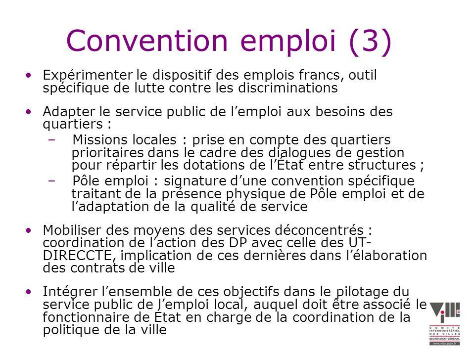 Convention emploi (3) Expérimenter le dispositif des emplois francs, outil spécifique de lutte contre les discriminations.
