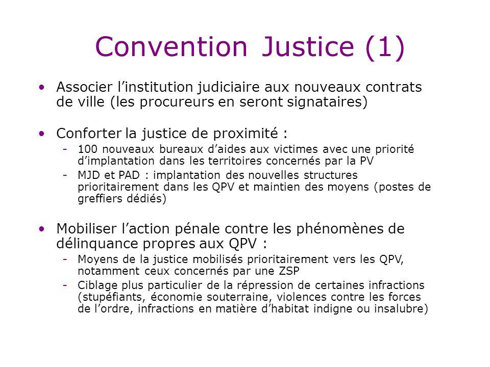 Convention Justice (1) Associer l'institution judiciaire aux nouveaux contrats de ville (les procureurs en seront signataires)