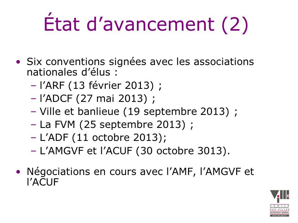 État d'avancement (2) Six conventions signées avec les associations nationales d'élus : l'ARF (13 février 2013) ;