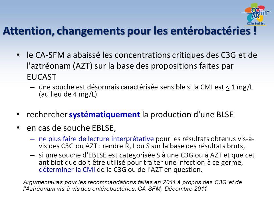 Attention, changements pour les entérobactéries !