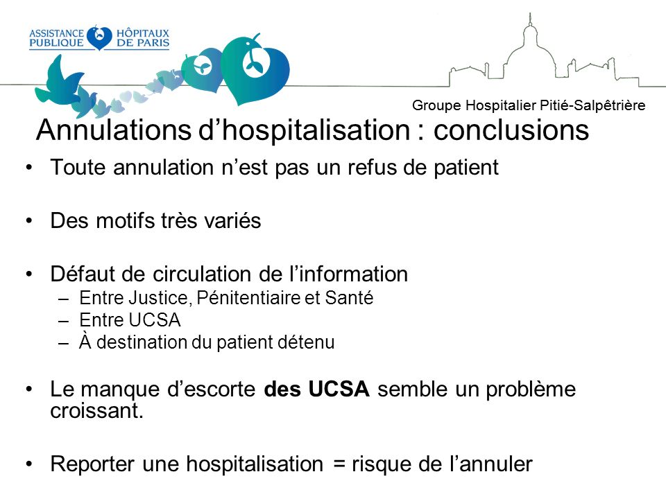 Annulations d'hospitalisation : conclusions