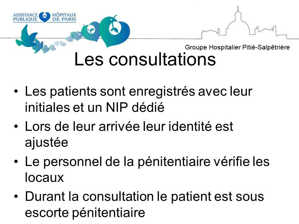 Les consultations Les patients sont enregistrés avec leur initiales et un NIP dédié. Lors de leur arrivée leur identité est ajustée.