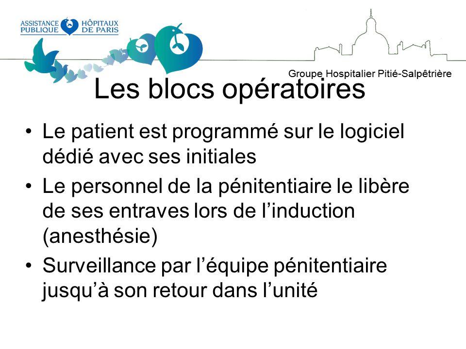 Les blocs opératoires Le patient est programmé sur le logiciel dédié avec ses initiales.