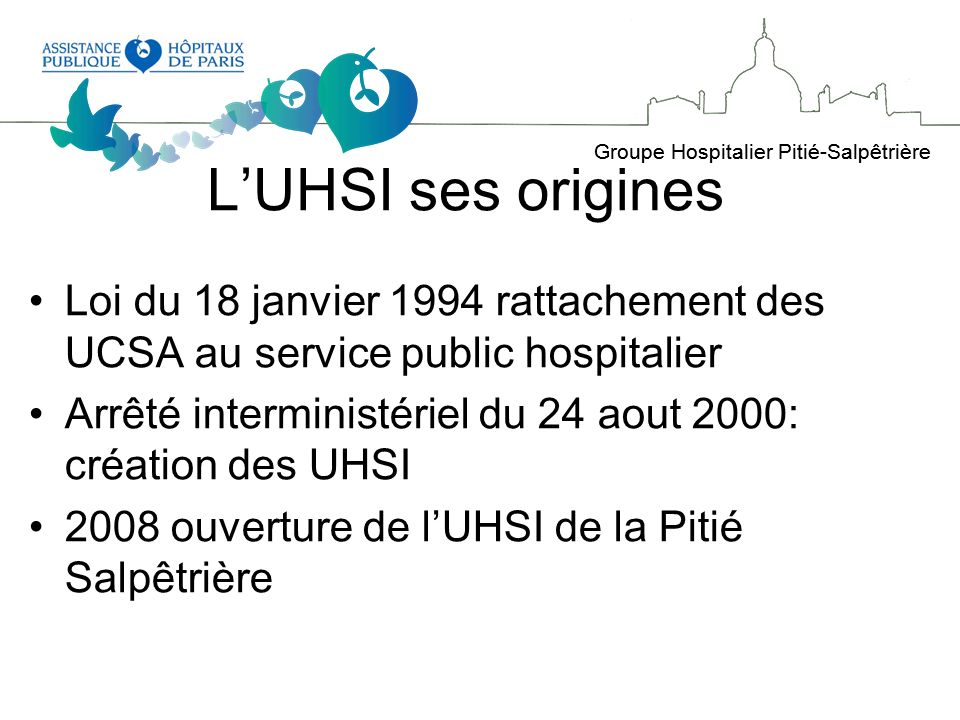 L'UHSI ses origines Loi du 18 janvier 1994 rattachement des UCSA au service public hospitalier.