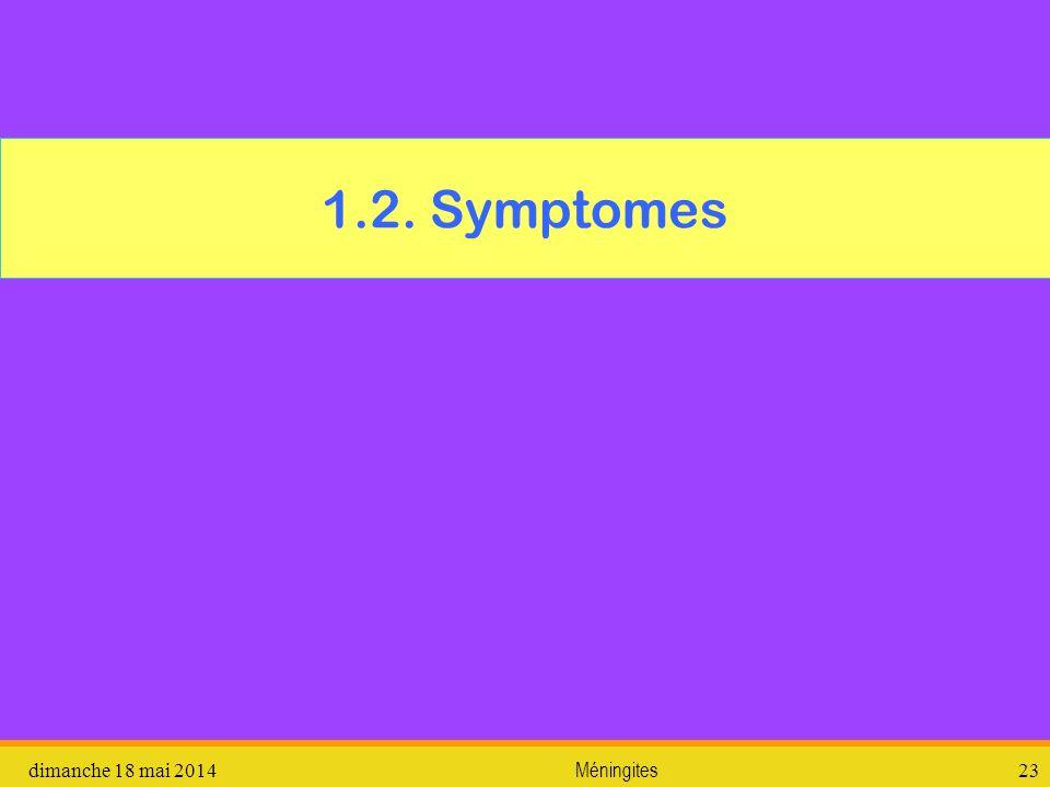 1.2. Symptomes vendredi 31 mars 2017 Méningites