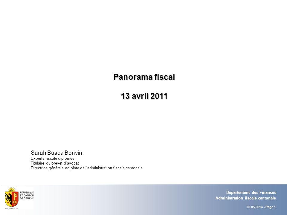 Panorama fiscal 13 avril 2011 Sarah Busca Bonvin