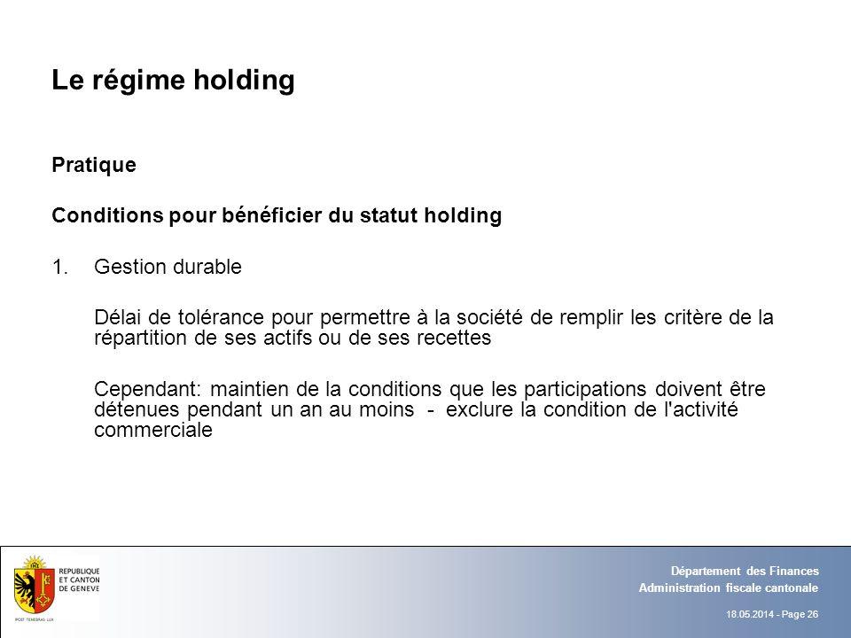 Le régime holding Pratique
