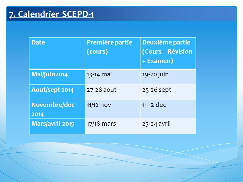 7. Calendrier SCEPD-1 Date Première partie (cours)