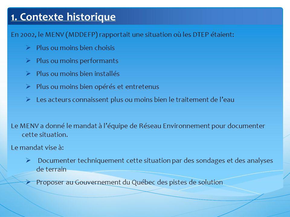 1. Contexte historique En 2002, le MENV (MDDEFP) rapportait une situation où les DTEP étaient: Plus ou moins bien choisis.