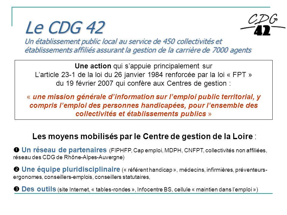 Le CDG 42 Un établissement public local au service de 450 collectivités et établissements affiliés assurant la gestion de la carrière de 7000 agents