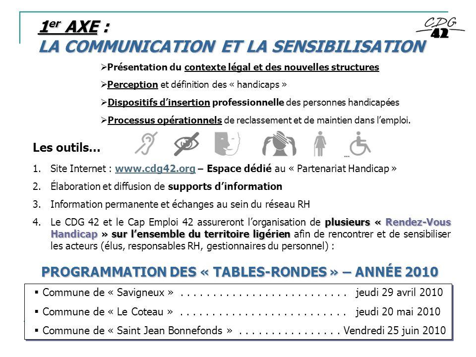 1er AXE : LA COMMUNICATION ET LA SENSIBILISATION