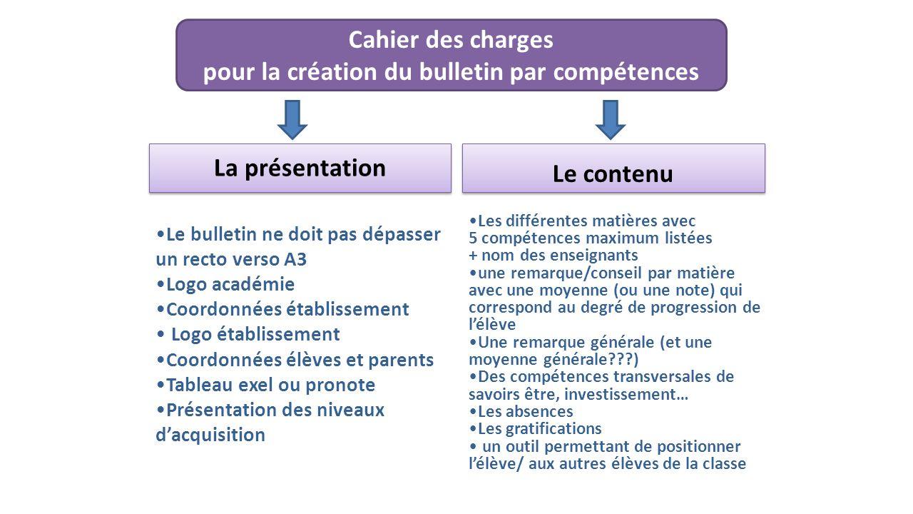 Cahier des charges pour la création du bulletin par compétences