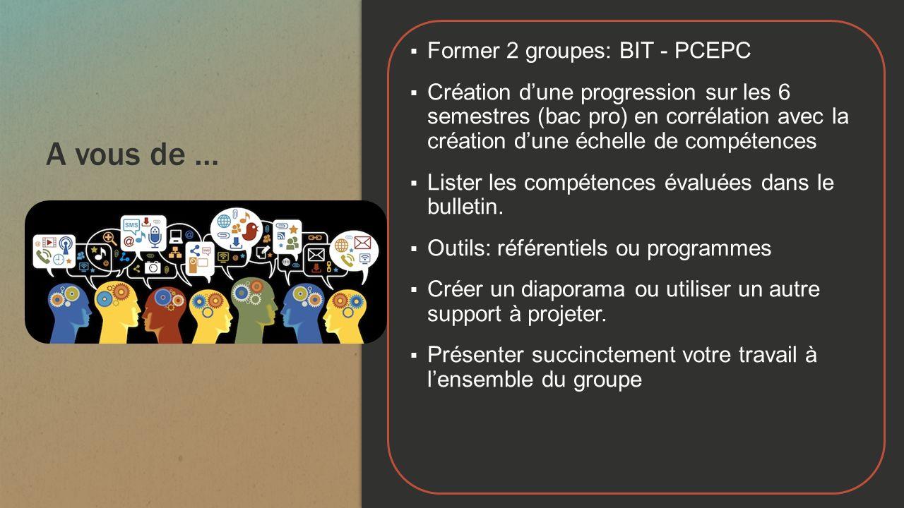 A vous de … Former 2 groupes: BIT - PCEPC