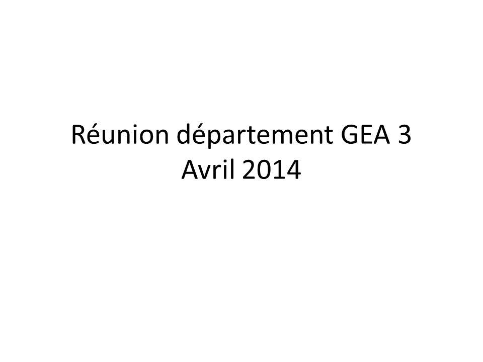 Réunion département GEA 3 Avril 2014