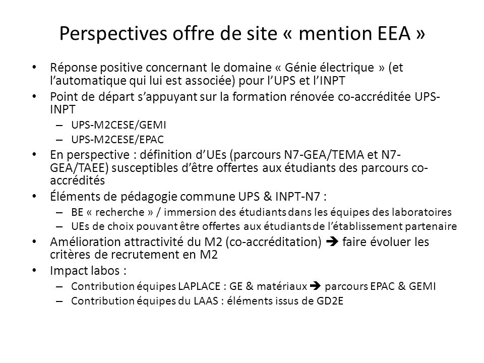 Perspectives offre de site « mention EEA »