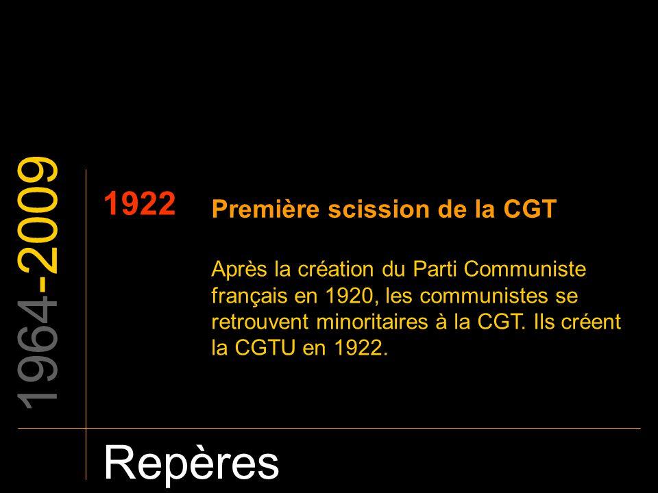 1964-2009 Repères 1922 Première scission de la CGT