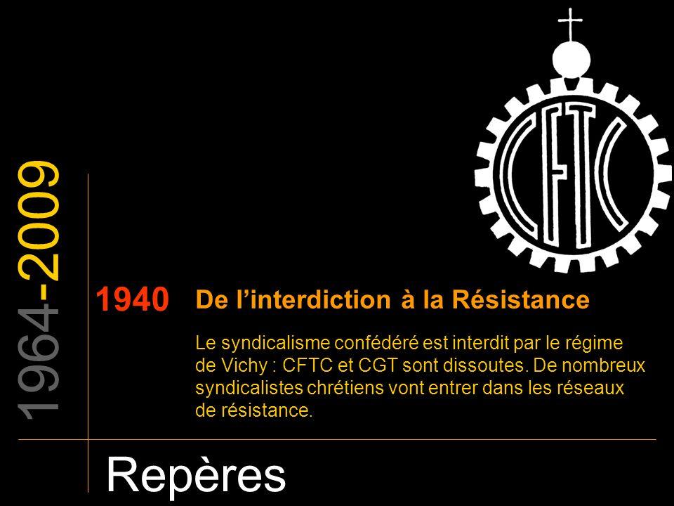 1964-2009 Repères 1940 De l'interdiction à la Résistance