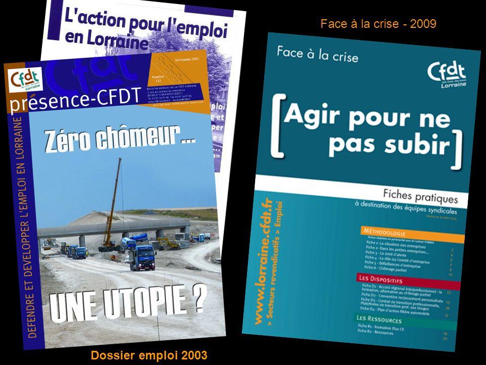 Face à la crise - 2009 Dossier emploi 2003
