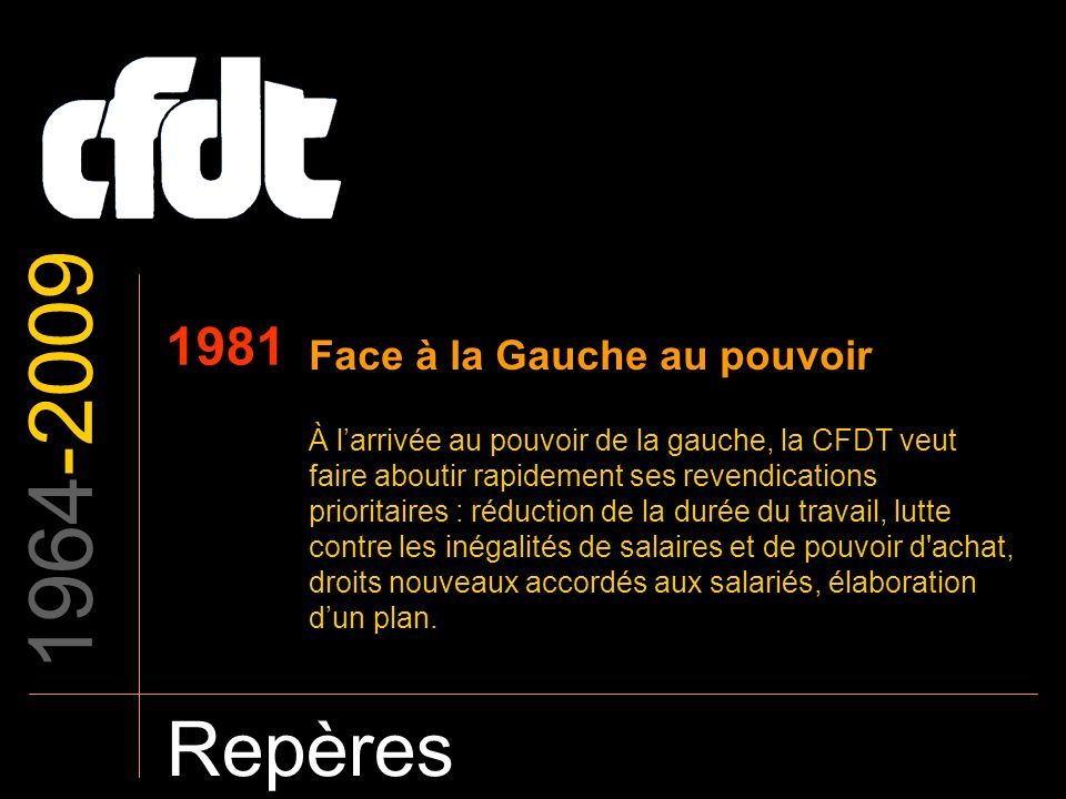 1964-2009 Repères 1981 Face à la Gauche au pouvoir