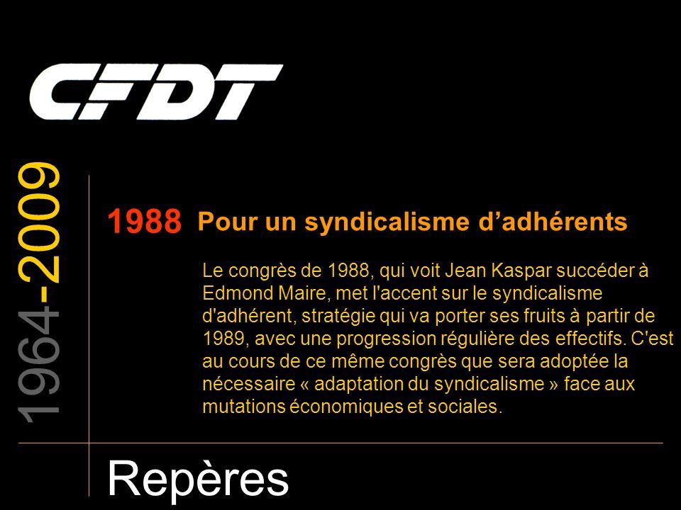 1964-2009 Repères 1988 Pour un syndicalisme d'adhérents