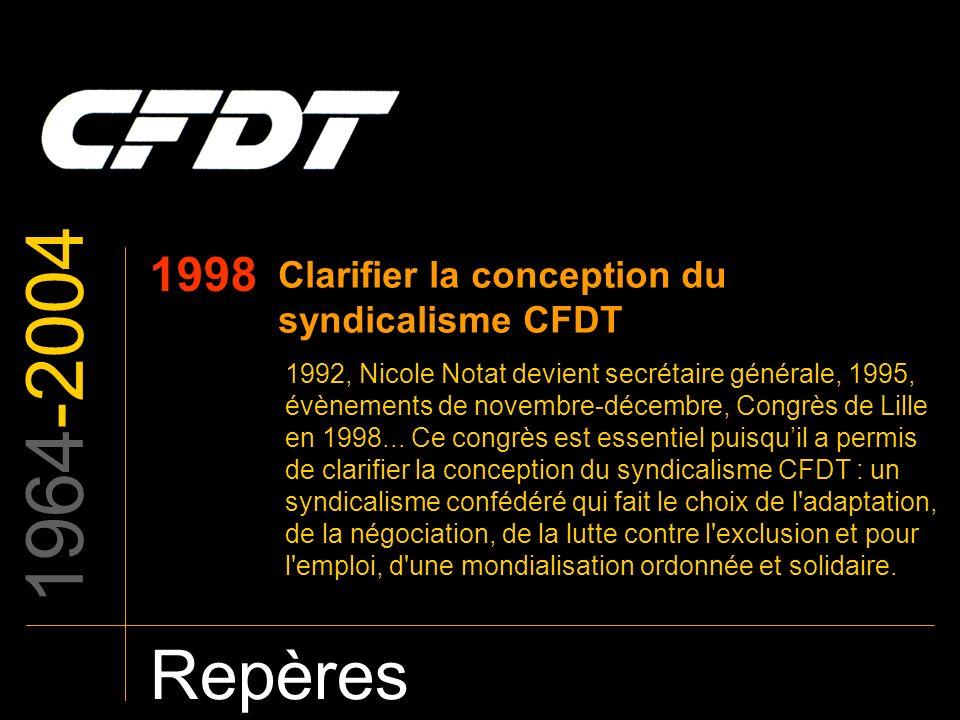 1964-2004 Repères 1998 Clarifier la conception du syndicalisme CFDT