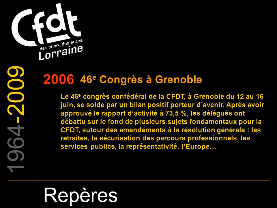 1964-2009 Repères 2006 46e Congrès à Grenoble