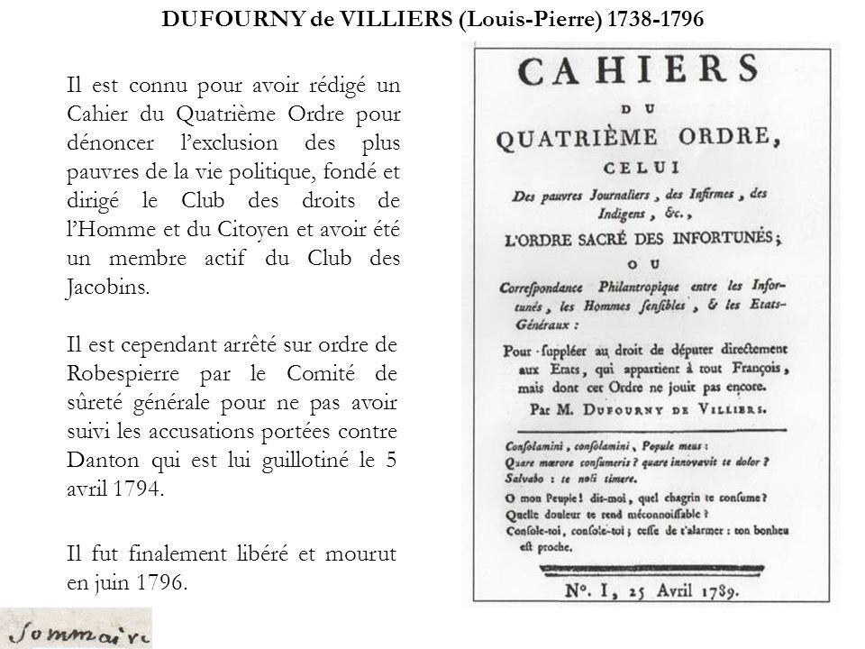 DUFOURNY de VILLIERS (Louis-Pierre) 1738-1796