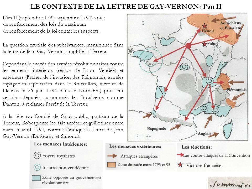 LE CONTEXTE DE LA LETTRE DE GAY-VERNON : l'an II