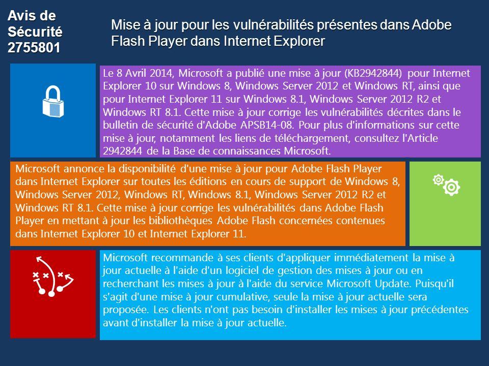 Avis de Sécurité 2755801 Mise à jour pour les vulnérabilités présentes dans Adobe Flash Player dans Internet Explorer.