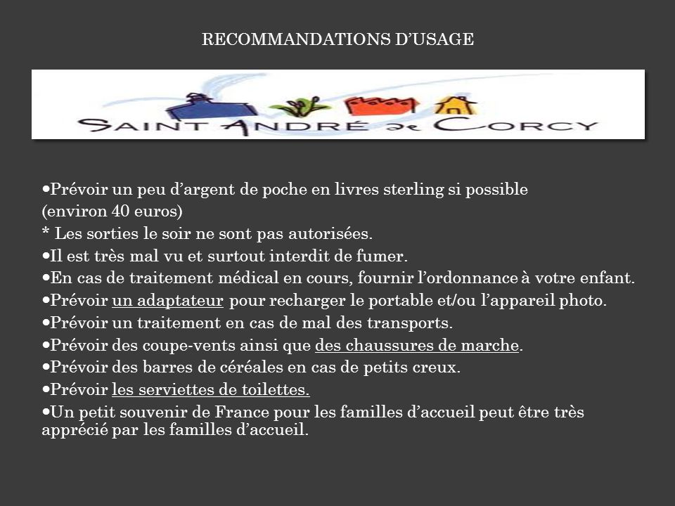RECOMMANDATIONS D'USAGE