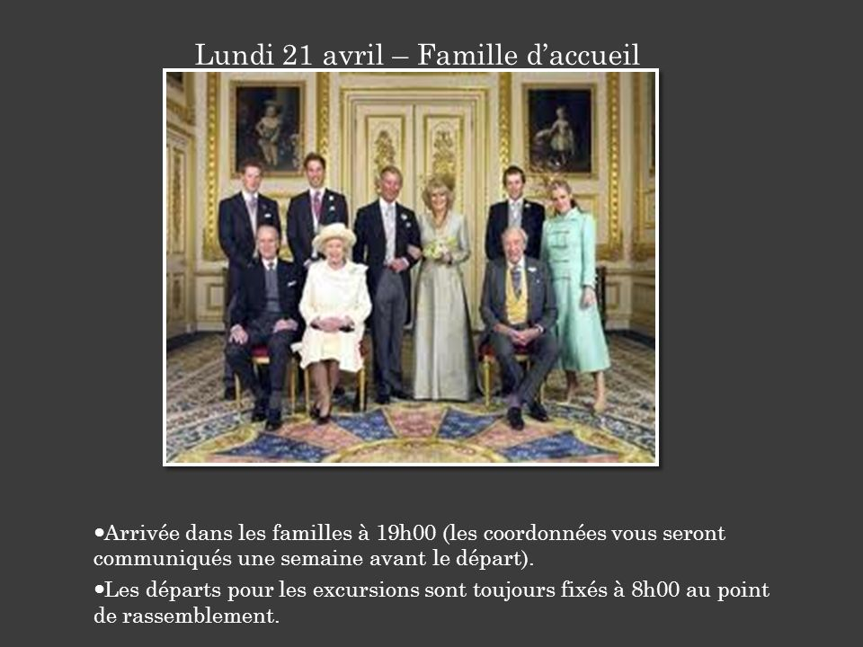 Lundi 21 avril – Famille d'accueil