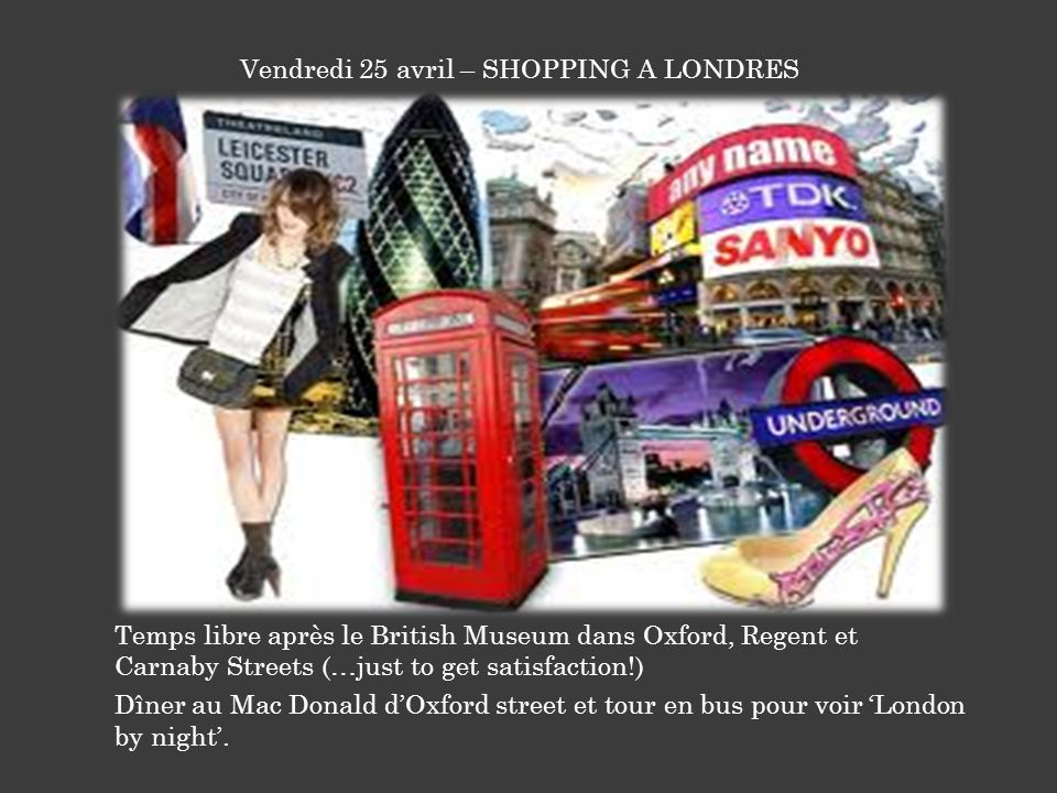 Vendredi 25 avril – SHOPPING A LONDRES